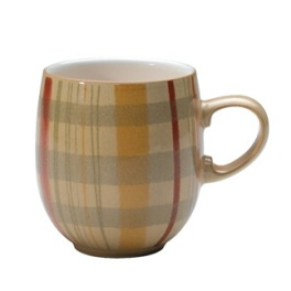 Denby Caramel Plaid Large Curve Mug