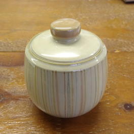 Denby Caramel Stripes Covered Sugar