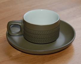 Denby Chevron (3 lines of chevrons) Cup and Saucer