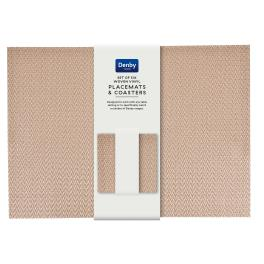 Denby Accessories Woven Copper Zig Zag Placemats & Coasters  - set of 6 - Vinyl