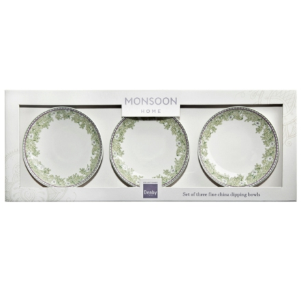 Denby Monsoon Daisy Green  Dipping Bowl x 3 in Gift Box