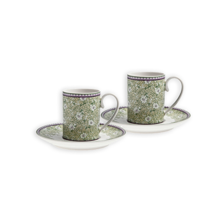 Denby Monsoon Daisy Green  Espresso Cup and Saucer x 2 in Gift Box