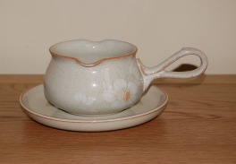 Denby Daybreak (Older colour, paler rim) Sauce Jug and Saucer