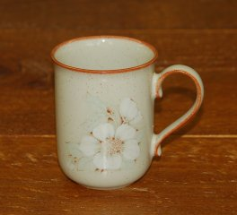 Denby Daybreak (Newer colour - browner rim) Straight Mug - ? shaped handle