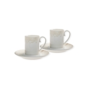 Denby Monsoon Lucille Gold  Espresso Cup and Saucer x 2 in Gift Box