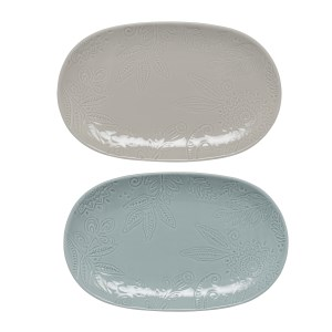 Denby Monsoon Gather Grey/Green Small Platters - Set of 2