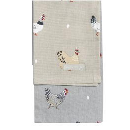 Sophie Allport Chicken Lay a Little Egg Tea Towels - Set of 2