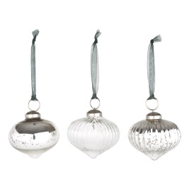 Sophie Allport Starry Night Antiqued Silver Onion Glass Bauble - Set of 3
