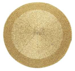 Walton Christmas Beaded Gold Round Placemat