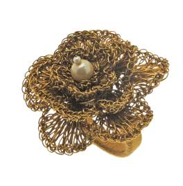Walton Christmas Antique Gold Floral Napkin Ring