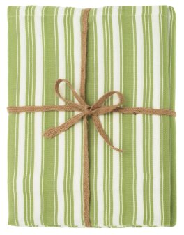 Walton Twill Stripe Avocado Tablecloth - Large