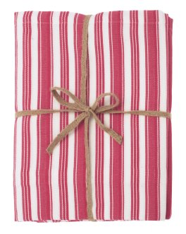 Walton Twill Stripe Raspberry Tablecloth - Large